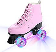 Adult Pink Artificial Leather Roller Skates Shoes Flashing Light Up Wheels 4 PU Wheels Training Double Row Out