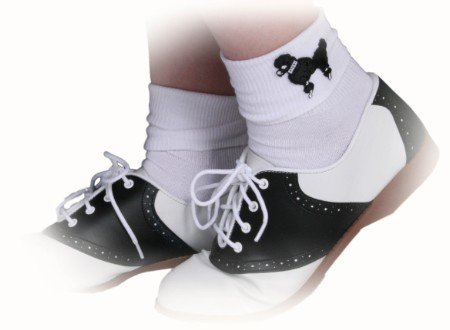 Hip Hop 50s Shop Womens Saddle Oxford Shoes 7.5 (Black And White Saddle Shoes)