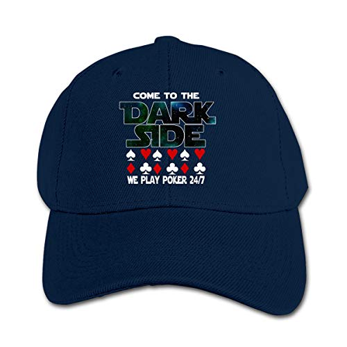 (XKAWPC Come to The Dark Side We Play Poker Boy&Girl Baseball Cap Adjustable Trucker Hat Funny Fitted Hat Navy)