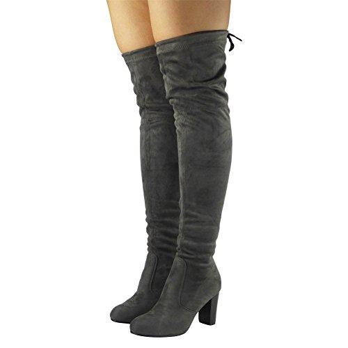 Uk Scarponcino Knee Work Grey Block New Loudlook On The 8 Over Taglia Ladies Pull Heel Womens Casual 3 Faux FSw7nT