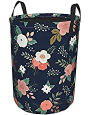 """Round Laundry Hamper,Floral Seamless Pattern with Ladybugs On A Blue Background,Drawstring Waterproof Folding Laundry Hamper 19""""X14"""""""