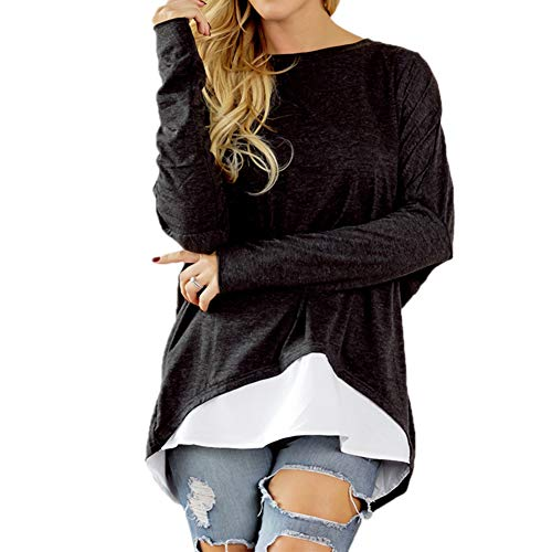 Women's Oversized T-Shirt Round Neck Black Long Sleeve Loose Batwing Casual Tunic Tops for Women Medium