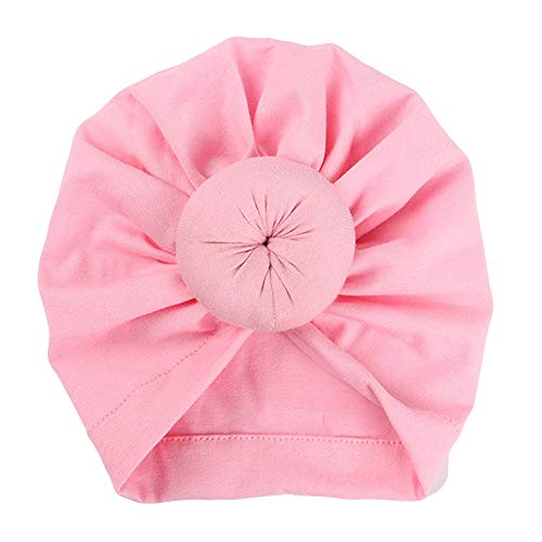 (Women's Knotted Turban Hat Hair Loss Head Wrap Cap Chemo Cap Cancer Cap Fashion Slouchy Hats for Women Baby-Pink)