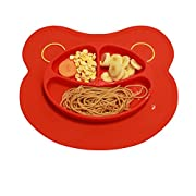 Mockins Mess Free Silicone Suction Baby Placemat With Bowl And Plate Is Safe For Children And All Kids And Toddlers Will Fit Most Highchair Feeding Tray In Your Kitchen Or Dining Table - Red Bear … …