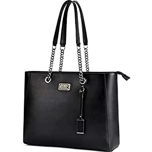 ZYSUN Laptop Tote, Gorgeous PU Leather Laptop Tote Bag Fits Up to 15.6 in Classy & Professional Design for Women