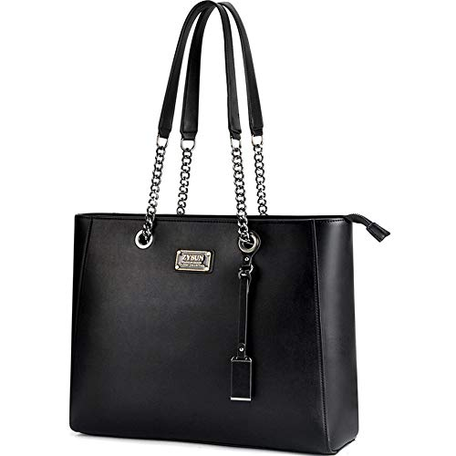 Laptop Tote, Gorgeous PU Leather Laptop Tote Bag Fits Up to 15.6 in Classy & Professional Design for Women Black