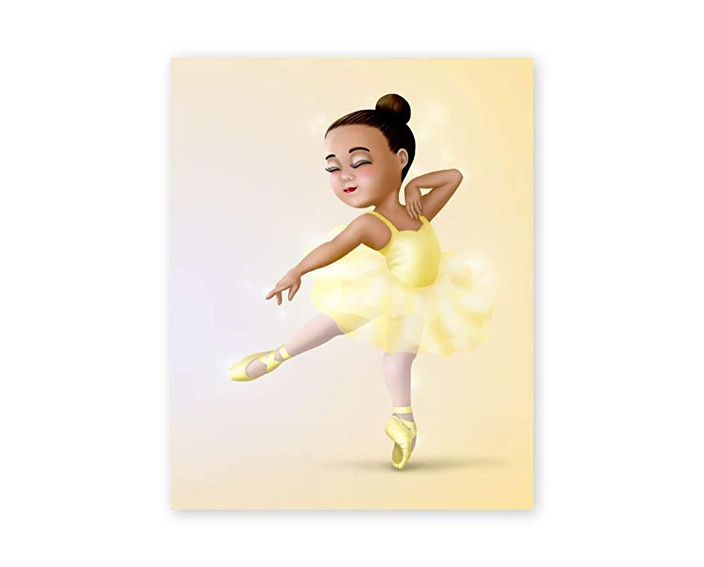 Amazon Com African American Wall Art For Girls Black Ballerina Dancing In Yellow Tutu Unframed Art Print Dance Recital Gift For Ballet Dancer Baby Nursery And Girls Room Decor Handmade