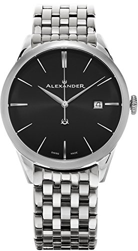 Alexander Heroic Sophisticate Men's Black Dial Stainless Steel Swiss Made Watch A911B-03
