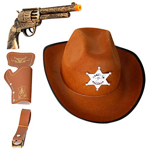 YuDanae Adults Teens Kids Western Cowboy Hat & Toy Pistol & Holster & Belt Kit 4Pcs Set for Cosplay Costume Props (Cowboy Set)]()