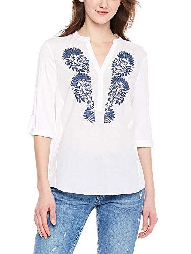 Woven Embroidered Blouse - Spicy Sandia Embroidered Blouses for Women V-Neck Casual Tunic Top Shirt with 3/4 Roll-up Sleeve, White, Small Size