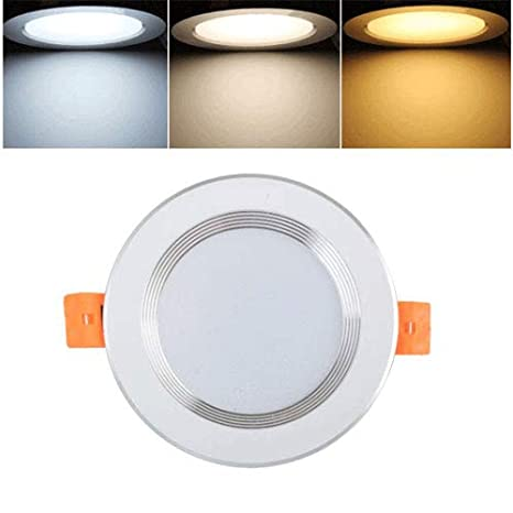 Verlight Dimmable Ultra Bright LED Embedded 3 Color Ceiling Light Fire Rated Recessed Simple Downlights Thick Aluminum Round Plate Spotlight Home Living Room Bedroom Kitchen Lamp (Size : 3W-3in)