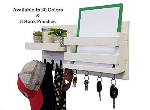 Cape Cod Wall Mount - Restyled Farmhouse Rustic Wall Mount Wall Organizer Mail Holder Shelf with Key and Coat Hooks, 20 Custom Colors: Shown Antique White - Decor
