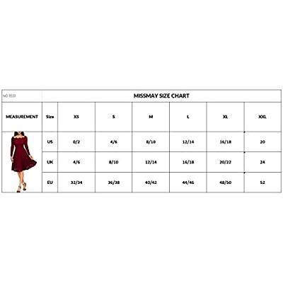 MISSMAY Women's Vintage Floral Lace Long Sleeve Boat Neck Cocktail Party Swing Dress: Clothing