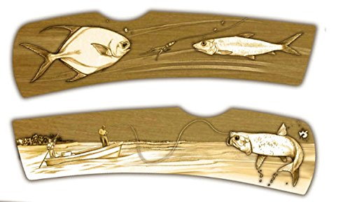 DKC-1106-B FLORIDA KEYS FISHING Knife Bone Tarpon Pilot Salt Water Fishing Custom Hand Engraved Minted In Antique Brass 4.5 oz 6.75