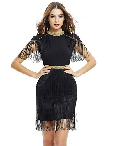 Hem Fringe Dress - FLYCOOL Women's Vintage 1920s Tassels Hem Flapper Party Dress with Fringe Sleeve Black
