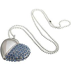 SMYTShop Heart Shape 8GB Fashion Jewelry Bling Shiny Crystal Diamond Pendant USB High Speed Flash Memory Stick Pen Drive Disk Necklace (Blue)