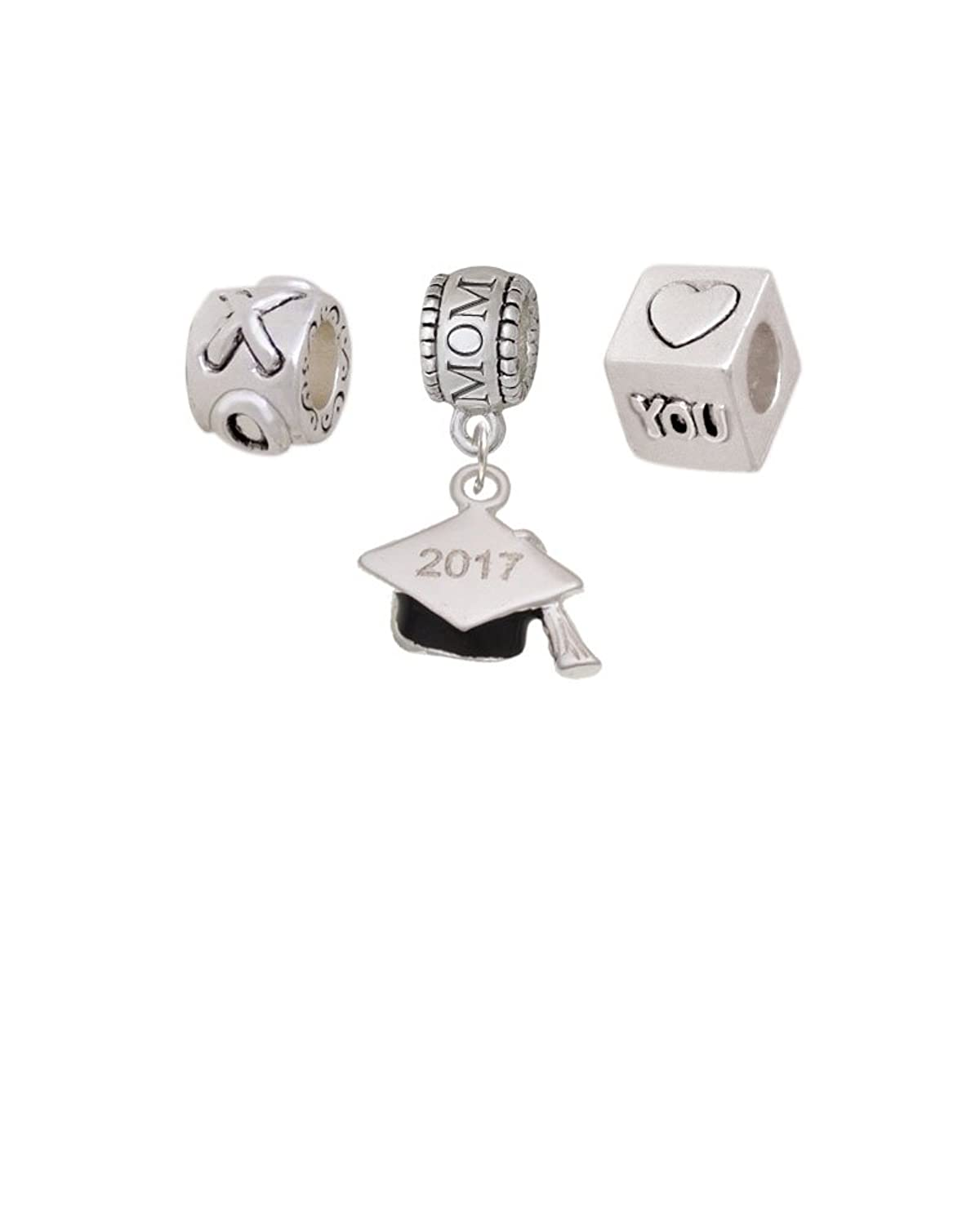 3-D Graduation Hat Mothers Day Charm Beads (Set of 3)