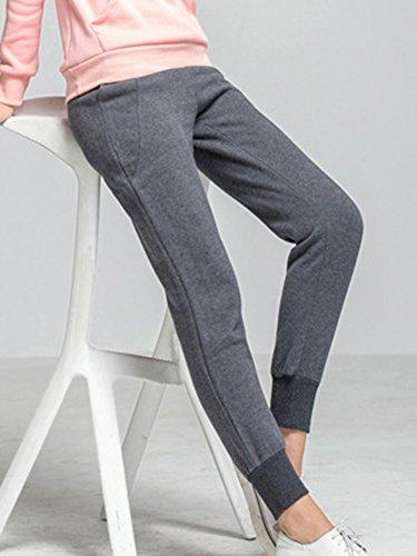 Grigio Donna Tasche Lungo Sportiva scuro Pantaloni Pants Casuali Con Denso Pantaloncini Elastico Jogging vffHwq5