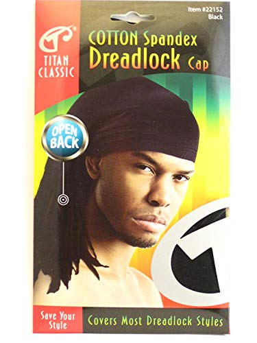 Titan Classic Open Back Cotton Spandex Dreadlock Cap, Black ()