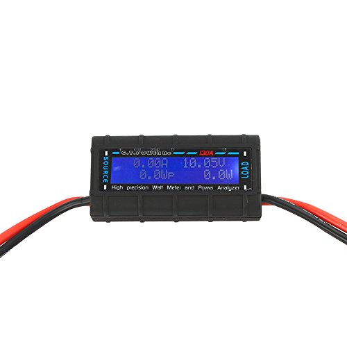 RGBZONE 130 Amps Power Analyzer, High Precision RC with Digital LCD Screen for RC, Battery, Solar, Wind Power