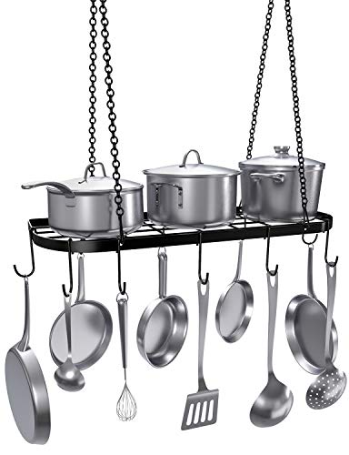 VDOMUS Pot Rack Ceiling Mount Cookware Rack Hanging Hanger Organizer with Hooks, Black ()