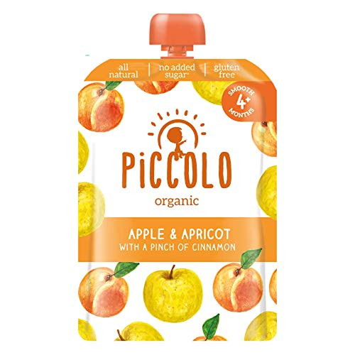 Piccolo Organic – Apple and Apricot Puree with a Pinch of Cinnamon – Stage 1 Baby Food, 100 g (Pack of 5)