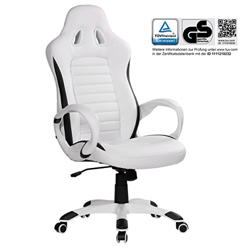 Astounding Finebuy Racing Office Chair With Armrests Design Executive Chair White Swivel Chair Upholstered With Sports Seat Desk Chair With Headrest Modern Machost Co Dining Chair Design Ideas Machostcouk