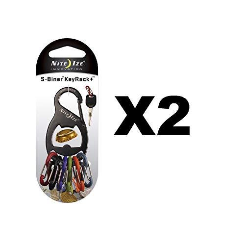 Nite Ize S-Biner KeyRack + Bottle Opener Black Keychain w/Biner Clips (2-Pack)