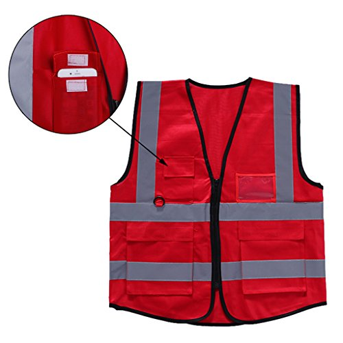 (Hacloser High Visibility Safety Vest Reflective Strips Zipper Front Jacket Security Waistcoat with 5 Pockets Multicolor for Cycling Motorcycle Running (Red))