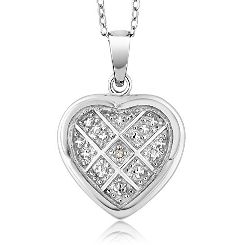 (Gem Stone King Diamond Women's Vintage Style Unique Rhodium Plated Brass Cross Heart Shape Pendant Necklace with 18 Inch Chain)