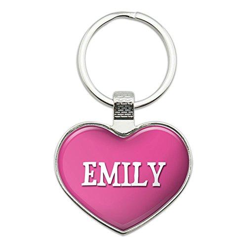 Pink Heart Keychain (Metal Keychain Key Chain Ring Pink I Love Heart Name E-I - Emily)