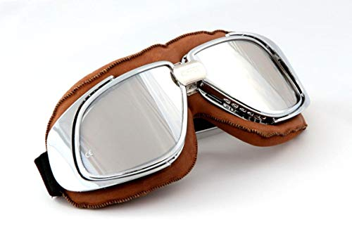 Qubeat Motorradbrille Fliegerbrille Brille Biker braun ECHT Leder verspiegelte Gläser