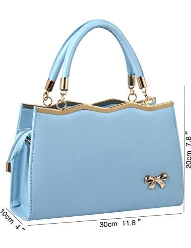 Borsa Blu Signore Leather Bag Menschwear Pu Tracolla A Avorio Nuove Lucida Cielo Tote Fp0qSp6w7