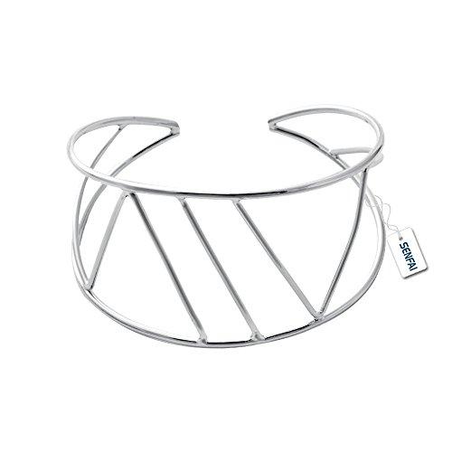 SENFAI Wide Hollow Geometric Figure Cuff Bangles for Women Statement Jewelry Punk Charm Metal Opening Bangle Bracelets (Silver) (Wire Cuff)