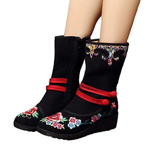 AvaCostume Womens Wedge Heel Side Zipper Embroidery Shoes Black