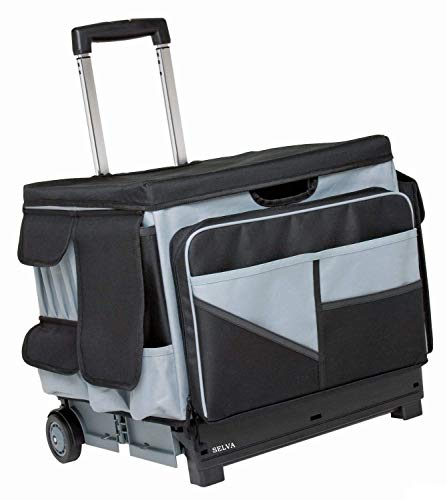 Selva Foldable Rolling 46 Compartment Storage Tote Utility Mobile Cart w/Handle | Ideal for Organizing Transport Teaching Scrapbook Hobby Craft Supplies Office Outdoor Travel | Heavy Duty Hold 65 lbs