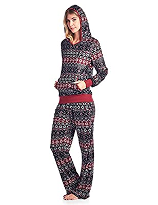 Ashford & Brooks Women's Mink Fleece Hoodie Pajama Set
