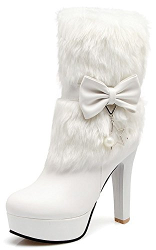 IDIFU Womens Dressy Fluffy Fur Pointed Toe Pull On High Block Heel Platform Ankle High Boots With Bows White 7stEdhbI