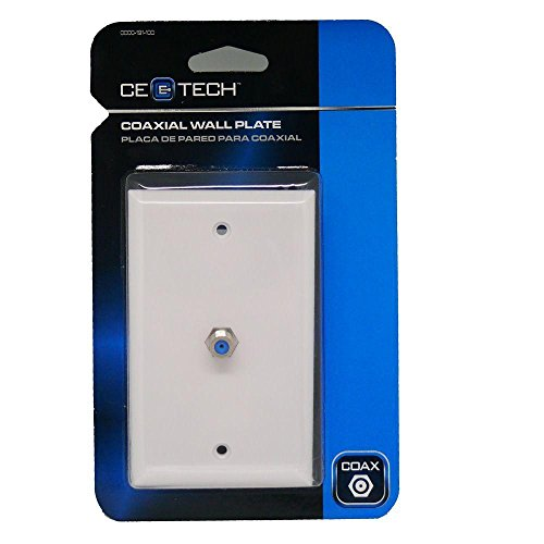 CE TECH Coaxial Cable Wall Plate - Light Almond