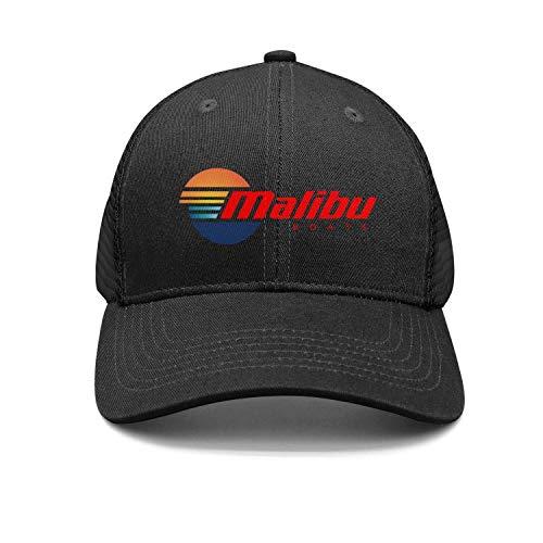 Malibu Hat - Fashion Cap Adjustable Malibu-Boats-Vector-Logo-Simple-red- Black Designer Flat Hat