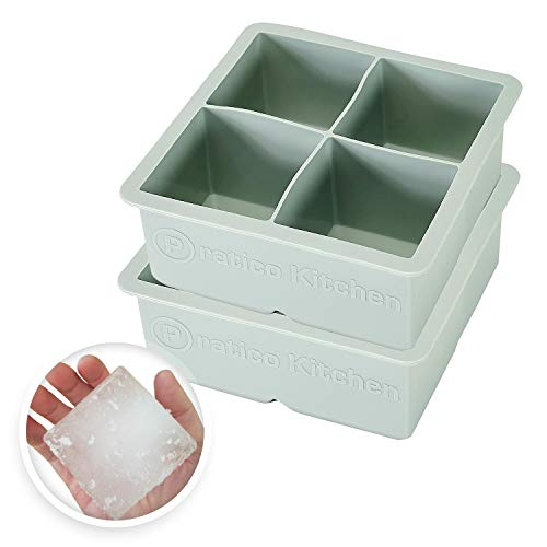 Large Ice Cube Mold - Makes 4 Jumbo 2.25 Inch Big Ice Cubes - Prevent Diluting Your Scotch, Whiskey, Cocktails - Keep Drinks Chilled with Praticube Large Ice Cube Trays - 2 Pack ()