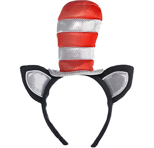 Costumes USA Dr. Seuss Cat in the Hat Cat Ears Headband for Kids, Halloween Costume Accessories, One Size ()