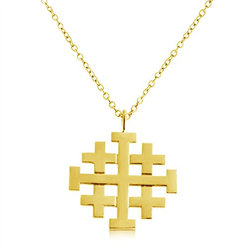 Jerusalem Gold Cross Pendant Jewelry - Jerusalem Crusaders Cross Pendant Necklace 14k Gold Plating Over 925 Sterling Silver (24 Inches)
