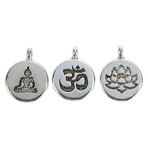 Monrocco 30 Pack Silver Yoga Charms Set Ohm Om Charm Lotus Flower Charms Meditating Buddha Charms Lots for Bracelets Jewelry Making ()