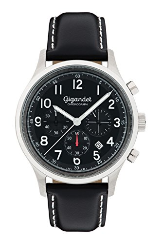 Gigandet Men's Quartz Watch Efficiency Chronograph Analogue Leather Strap Black G50-004