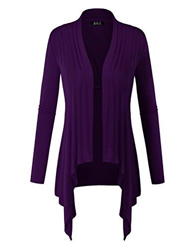 BILY Women Long Sleeve Drape Open Light Weight Jersey Cardigan Purple - Purple Jersey Drapes