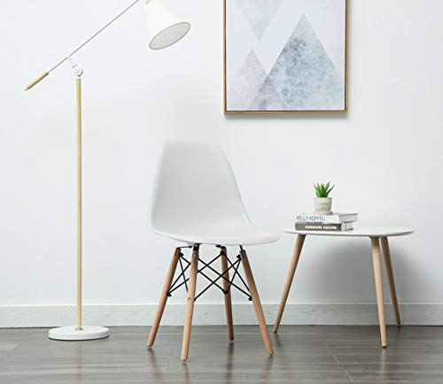 - Porthos Home BLF001B WHT April Mid-Century Dining Crafted from Molded Plastic with Eiffel-Inspired Birch Wood Legs, Also As A Side Chair for Any Room in The House Or Office, One Size, White