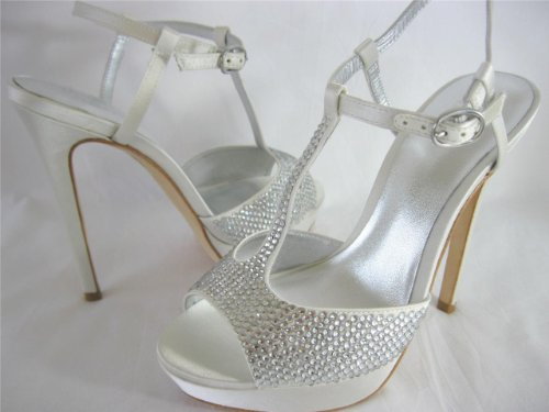 Bourne Women's Diamante Encrusted Satin T-Bar Poppy Bridal Shoes Off-White Zdo4k