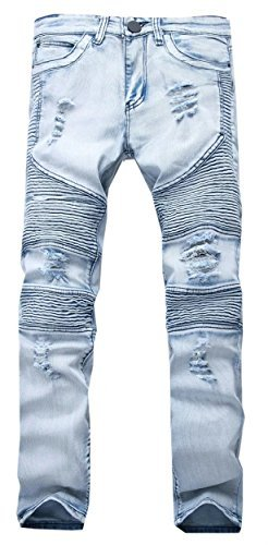 Cameinic Men Hiphop Pants Skinny Runway Distressed Slim Denim Biker Jeans Blue,34