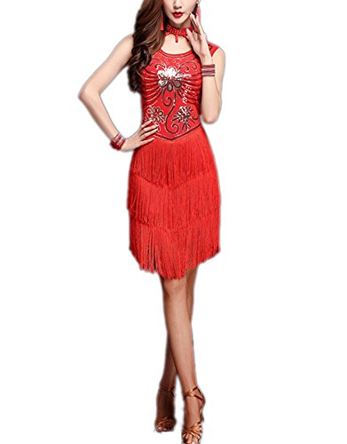 Jazz Era Costumes - Whitewed Retro Sequin Bead Art Deco Flapper Jazz Era Style Dresses Costumes Red